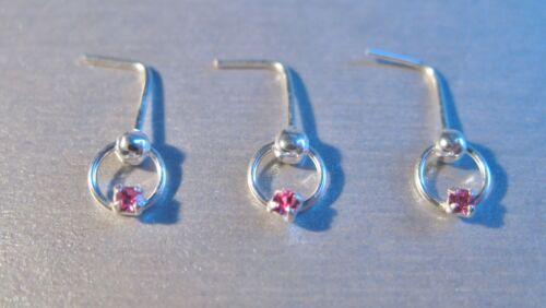 3 X Plata Esterlina 925 piercings para nariz formas Pins Anillos elija Diseño Tamaño Color