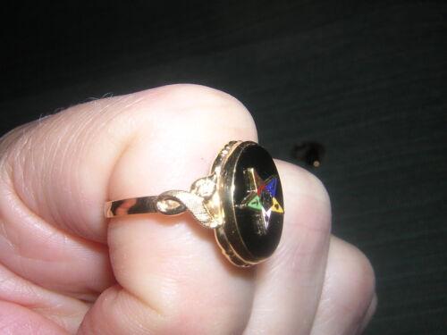Leaf Black Onyx ORDER EASTERN STAR Oval 10K Gold Fl RING 2-8 5.5 6.5 10 11 12 13
