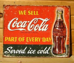 We sell coca cola every day ice cold tin sign rustic metal for Coca cola wall mural