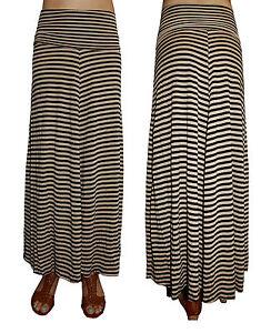 Womens-Long-Jersey-Stripe-Maxi-Skirt