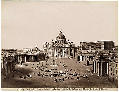 Rome St Peter Unusual mix of photography and painting Large albumen photo 1870c