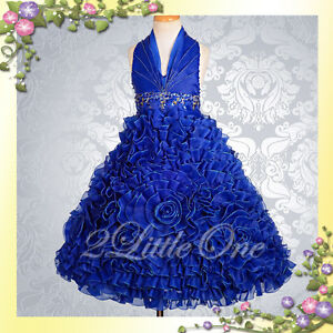 Embossed-Flower-Girl-Halter-Dress-Wedding-Pageant-Party-Blue-Size-8-10-148