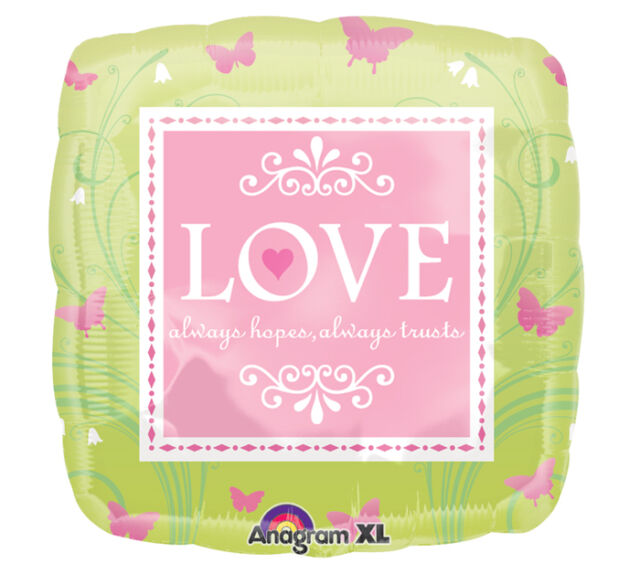 "18"" Mylar LOVE Hopes Trusts Pink Lime Green Butterflies Wedding Bridal Balloon"