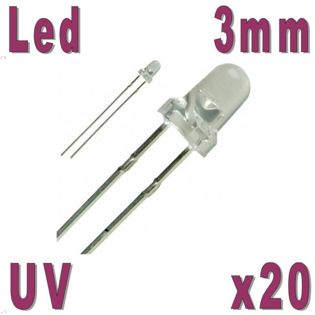 20x Led 3mm UV 2000mcd