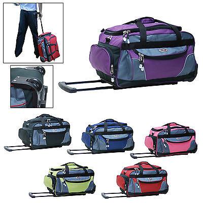 "21"" Rolling Duffel Bag Travel Tote Duffle Bag Wheeled Luggage - Purple"