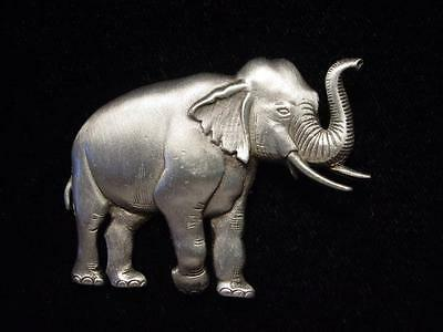 """""""JJ"""" Jonette Jewelry Silver Pewter 'Elephant with Trunk UP' Pin"""