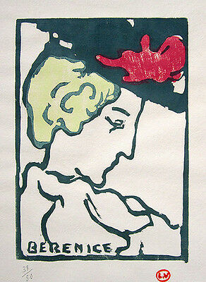 "LOUIS VALTAT c. 1908 Original Color Woodcut - ""Berenice"""