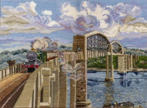 Royal Albert Bridge Saltash Exeter St Davids steam train cross stitch kit 14s