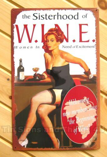 Wine Sisterhood TIN SIGN funny retro vtg metal poster bar wall decor pinup OHW