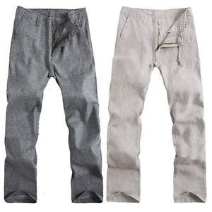 New-Mens-Casual-Beige-Gray-Linen-Pants-Trousers-Drawstring-Size-S-XXL-Jpq
