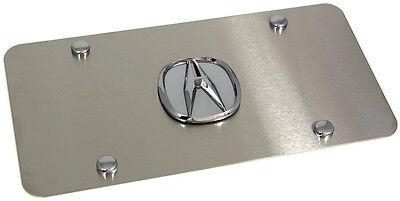 Chrome Acura Logo Brush Front License Plate Frame Stainless Steel 3D Metal jdm