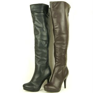 Women-039-s-High-Heel-Over-the-Knee-Thigh-High-Boots-Black-and-Brown-5US-10US