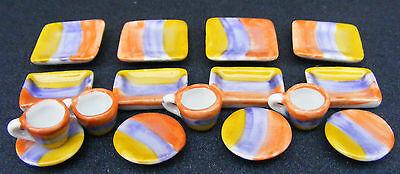 Bene 1:12 Scala 16 Pezzi In Ceramica Giallo Blue & Red Tea Set Casa Delle Bambole In Miniatura Ts25-mostra Il Titolo Originale Ultimo Stile