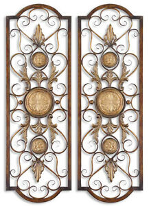 tuscan french metal scroll over door window micayla wall d cor grille small s 2 ebay. Black Bedroom Furniture Sets. Home Design Ideas