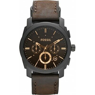 Brand New Fossil Brown Leather Strap Steel Case Chronograph Mens Watch FS4656