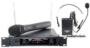 NEW-Pyle-PDWM2700-2Ch-VHF-Wireless-Microphone-System-W-Handheld-Headset-Mic