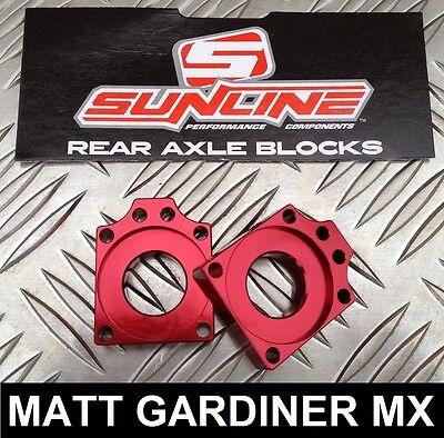 SUNLINE MOTOCROSS MX CHAIN ADJUSTER AXLE BLOCKS RED HONDA CRF 150 2007-2014