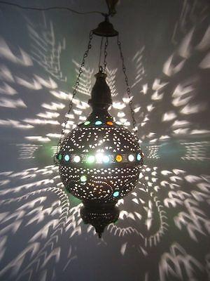 Moroccan Jeweled Oxidized Brass Pendant Lamp Lantern