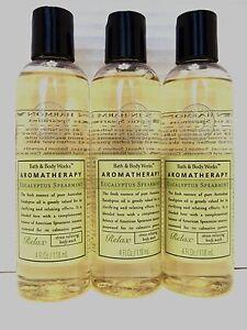 Bath-Body-Works-Aromatherapy-Eucalyptus-Spearmint-Body-Wash-4-oz-NEW-x-3