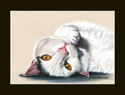 White Cat Upside Down World Print by I Garmashova