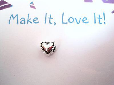 SOLID OUTLINED CUTE LOVE HEART Large Hole Bracelet Bead Tibetan Silver 8MM