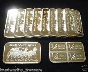 10-1-troy-oz-STAGECOACH-SILVER-bars-NWT-Mint-999-fine-in-protective-sheet
