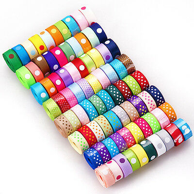 "80yards 3/8"" mixed 80 style dot colorful craft satin grosgrain ribbon lot ABC"