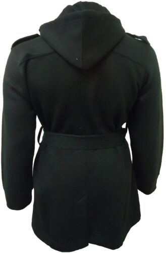 NEW WOMENS PLUS SIZE BLACK BELTED HOODED COAT MILITARY WINTER JACKET 12-26
