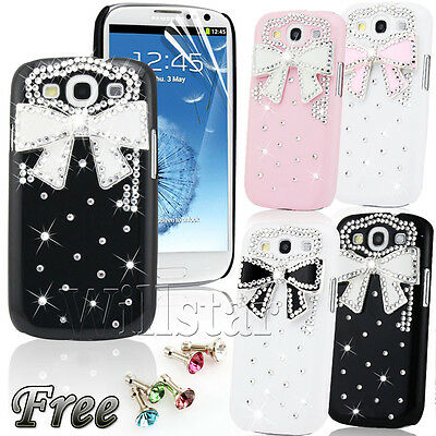 FOR SAMSUNG GALAXY S3 i9300 LUXURY BLING 3D CRYSTAL DIAMOND BOW HARD CASE COVER