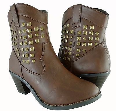 Women shoes Ankle High Fahion Cowboy Western Spike Studded Design Faux Leather