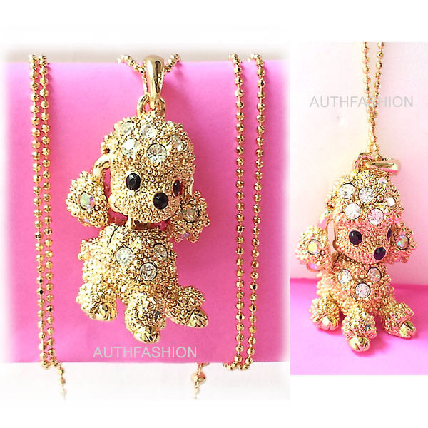 Puppy Dog Poodle Gold Color Kids Crystal Pendant Necklace Charm / Free Gift Box