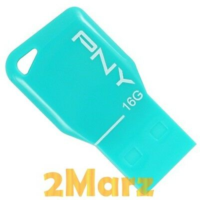 PNY Key Attache 16GB 16G USB Flash  Drive Stick Disk Mini Thumb Memory Turquoise