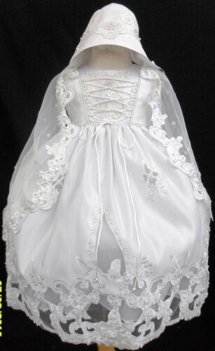 NEW Baby Girl /& Toddler Christening Baptism Formal Dress White new born to 30M