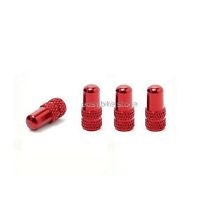 4PCS-BIKE-MTB-ROAD-Aluminum-Presta-Inner-Tube-Valve-Cap-Anodized-Machined-RED