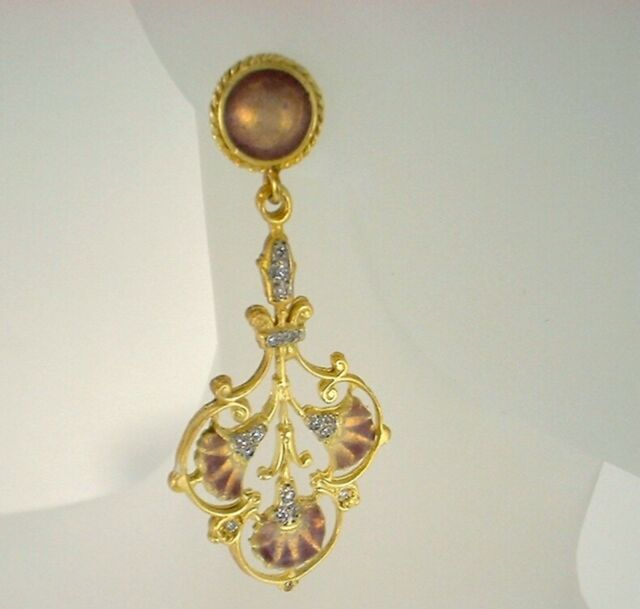 Enamel & Diamond Chandelier Earrings 18K Yellow Gold 1910