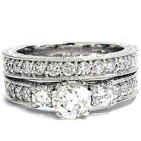 1-50CT-Diamond-Vintage-Engagement-Wedding-Ring-Set-Engraved-Antique-Filigree