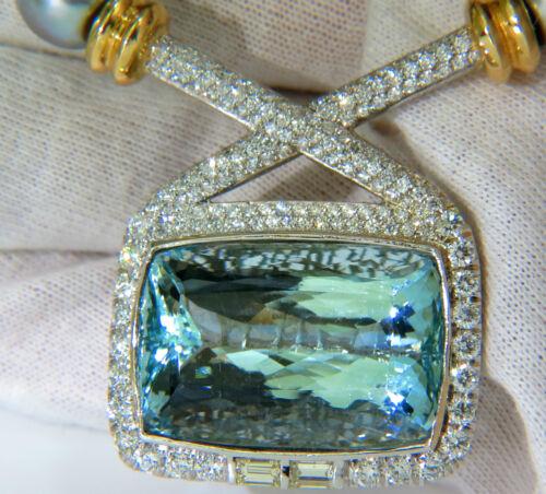 $68000 18K GIA 70.5CT NATURAL TOP GEM AQUAMARINE DIAMOND TAHITIAN PEARL NECKLACE