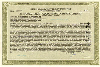 Blyvooruitzicht Gold Mining Company > South Africa mine stock certificate share