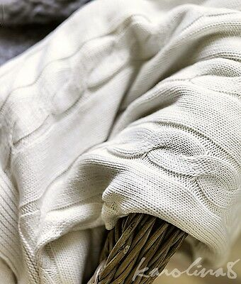 Ikea URSULA Cable Knit Throw Cotton Knitted Blanket bleached Ivory White Sweater