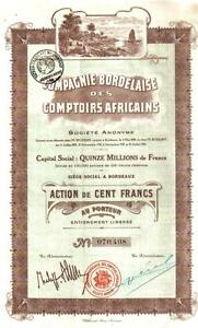 Colonial-Africa-France-1920-Bordelaise-Comptoirs-Africains-100f-Uncancelled-Deco