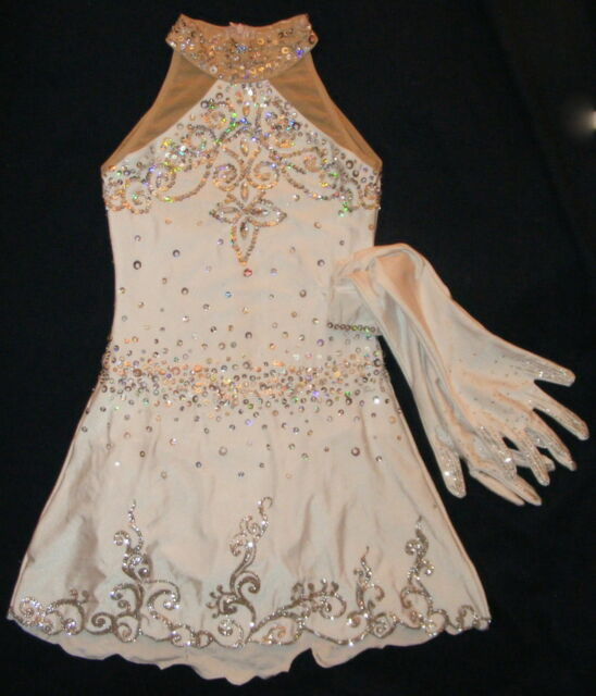 Figure Ice skating dress/Twirling leotard with Gloves Tap dance costume