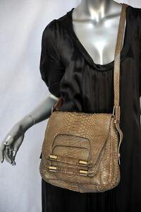 CHLOE-SNAKESKIN-Double-Flap-Lucite-Handle-Crossbody-Messenger-Bag-Purse-Handbag
