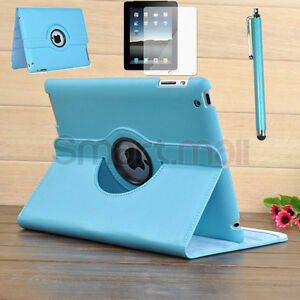 Pen-Film-For-New-iPad-3-2-360-Rotating-Magnetic-Leather-Case-Smart-Cover-Stand