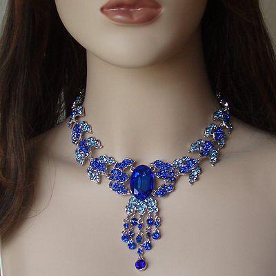 Deluxe Set Collier Ohrringe Brautschmuck Trachtenschmuck Blätter Kette Blau