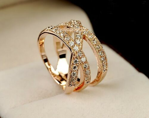 Elegant Jewelry 18K Rose Gold GP Austrian Crystal Cross Wide Party Ring