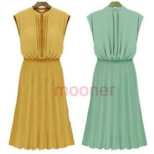 Casual-Mandarin-Collar-Sleeveless-Slim-Women-Full-Dress-Stretchy-Pleated-Summer