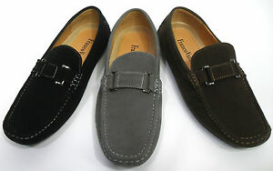 Men-039-s-FRANCO-VANUCCI-black-gray-brown-faux-suede-loafers-driving-style-DRIVE55