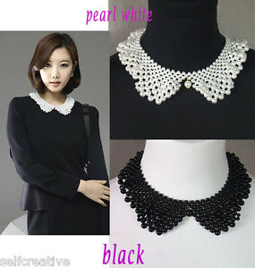 Women-Peter-Pan-Collar-Handmade-Necklace-Choker-Pearl-Black-White-Wrap-Scarf-New