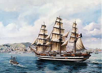 AMERIGO VESPUCCI Sail Training Ship of Italy   -Art Print on Canvas