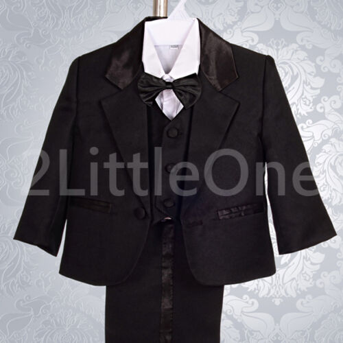 5pcs Set Formal Suits Outfits Christening Wedding Boys Black Size 9M-3T ST022A